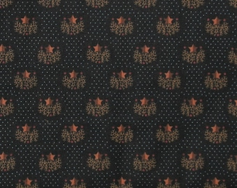 Gold Stars on Black Background with Blue Dots Cotton Quilt Fabric, Black Star Print from Kim Diehl's Helping Hands Collection, HEG6883-99
