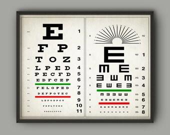 Eye Chart Print - Optometry Poster - Eye Anatomy - Eye Physiology - Optometry - Optician Wall Art - Ophthalmologist