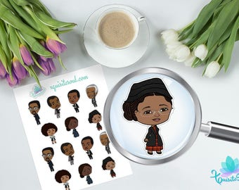 Black History Month XQuibis for Travelers Notebooks/ African American Planner Stickers for TN/ Brown Skinned Chibi Stickers