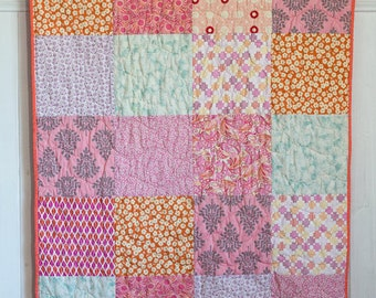 Baby Quilt, Modern Baby Quilt, Baby Quilt, Handmade, Pink Paisley, Modern Flowers, Pink and Orange, READY TO SHIP!