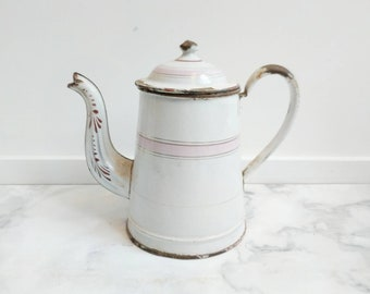 Pink and White Enamelware - French Enamelware - Vintage Enamelware - French Enamel - French Pitcher - Vintage Pitcher - Rustic Kitchen