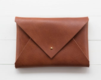 Classic Leather Envelope Clutch - Brown
