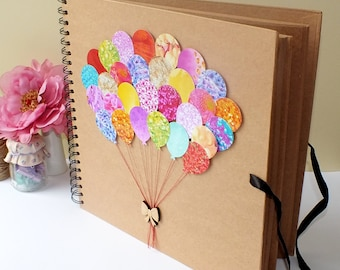 """Scrapbook Album - Photo Album - Baby Scrap book Album - Hand Decorated Large Scrapbook Album 12 x 12"""" - Wedding Gift - For Her"""