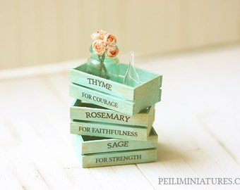 Dollhouse Accessories - Herb Wooden Vintage Crates- Turquoise