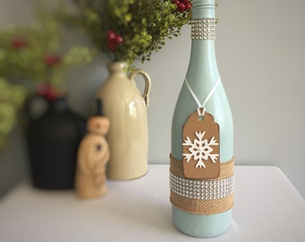 Snowflake Winter Decor/Christmas Decor/Holiday Bling/Rhinestone/Frozen/Party Decoration/Gift for Her/Wine Lover Gift/Recycled Wine Bottle