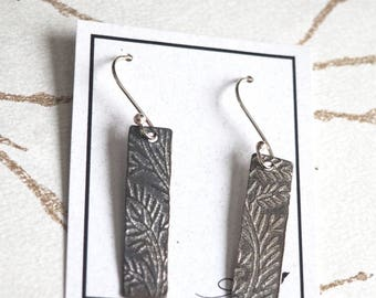 Long, floral textured rectangle earrings
