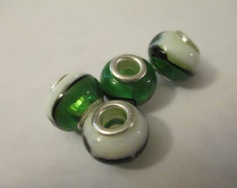 4 Green and White Swirled Glass Euro Beads Craft Jewelry Making Supplies Jenuine Crafts