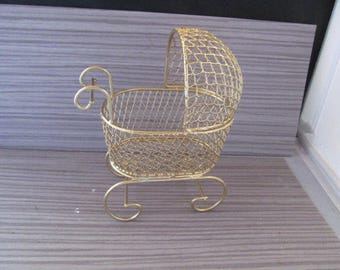 Vintage Gold Mini Wire Baby Carriage for Baby Shower Centerpiece, Decorations or Cake Topper