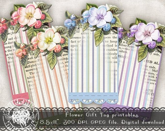 Digital Gift Tags, Printable Gift Tags, Floral Tags, Flower Tags, Vintage Gift Tags