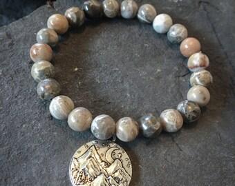 Adventure Bracelet, Mala Bracelet, Mountain Bracelet, Mountain Charm, Jasper Bracelet, Gift for Hiker, Rocky Mountains, Jasper,