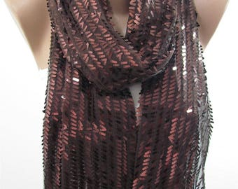 Mothers Day Gift For Her Metallic Brown Scarf Shawl Sequin Scarf Sparkle Scarf Wedding Scarf   Fashion Accessory Gift For Mom Holiday
