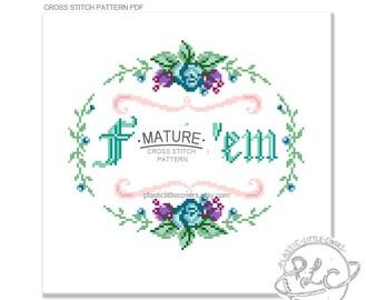 MATURE. F--k 'em. Modern Floral Cross Stitch Pattern. Digital Download PDF.