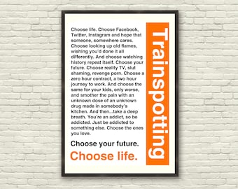 Trainspotting T2 - Choose Life Quote (A3 Poster)