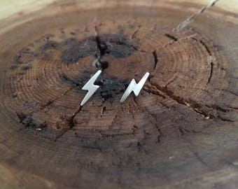 Lightning Stud Earrings; gold filled and sterling silver lightning studs; gift for her; Harry Potter earrings