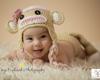 Newborn Sock Monkey hat, Newborn photography prop, newborn boy, crochet hat