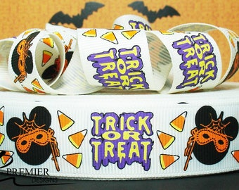 "7/8"" Halloween  Embossed Grosgrain Ribbon"