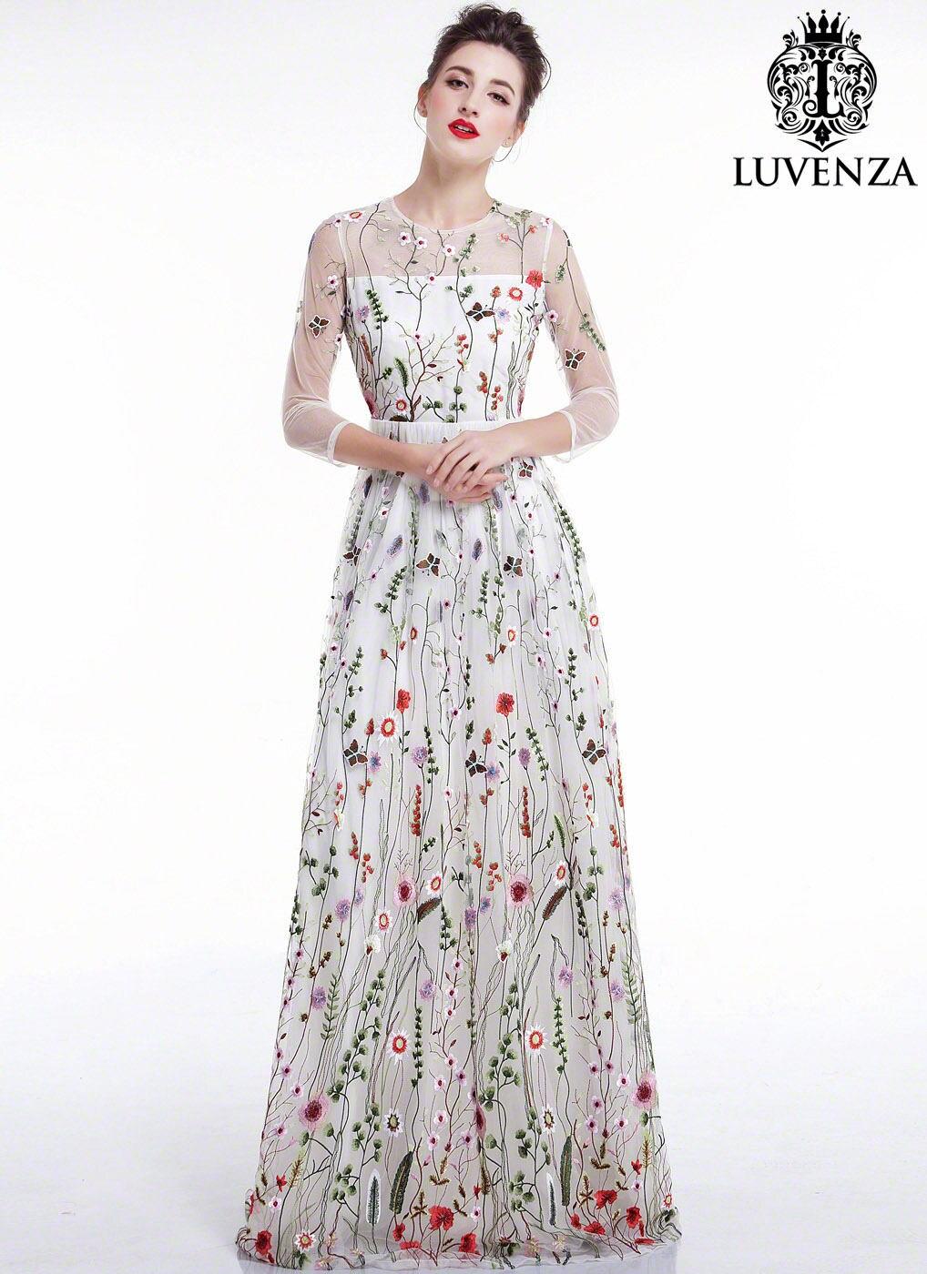 Weißer Tüll bunten floralen Stickereien Maxi Abendkleid/Boden