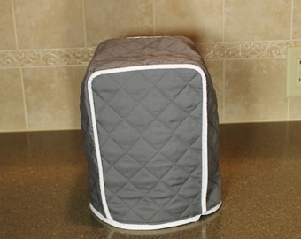 Coffee Maker Cover - 3 Sizes in over 300+ color combos (Medium Gray/White shown) - Gift under 25 - Great Wedding or Shower Gift!