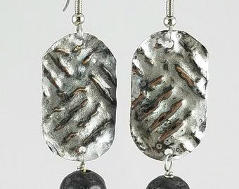 SALE! Embossed Metal Earrings with Lava rock Bead