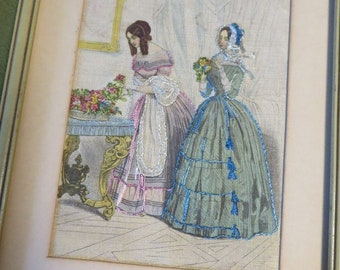 Godey's Fashions 1860 on LINEN Hand Embroidered French Knots   //  with Mat and Antique Wood Frame  //  Vintage Embroidery on Linen