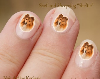 Shetland Sheepdog Nail Art, hond Nail Art Stickers, Sheltie Nail Stickers, vingernagel Stickers,, Decals