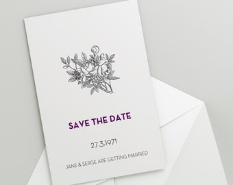 Printable Wedding Save The Date Download 'Rose' // DIY TEMPLATE // Word Mac or PC // 5 x 7 // Change artwork colour // Luxury Design
