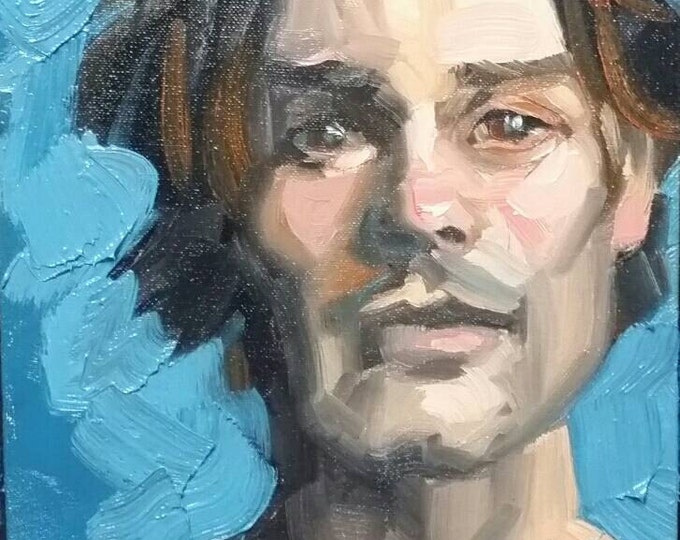 Handsome Young Man with Dark Eyes and Great Bone Structure, oil on canvas panel 9 x 12 inches Kenney Mencher