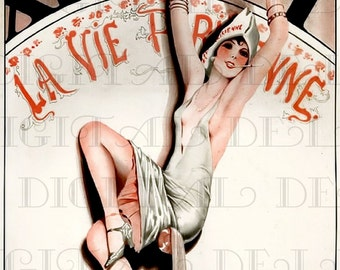 Is it Midnight? FRENCH FLAPPER New YEAR'S Eve Vintage Illustration. Vintage New Year's Eve Digital Download. Perfect for Holiday Craft