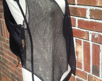 Upcycled vest, upcycled clothing, waterfall vest, lace clothing, lace vest, vintage top, lace top, black clothing, hi-low top