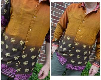 Men's Handmade Lined Sari Material Button Down Dress Shirt - Long or Short Sleeves - Cosmetic Seconds - Fading Brown Check - Stryker I886