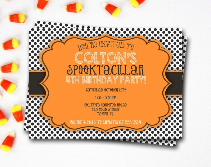 Halloween Birthday Invitation, Fall Birthday Invitation, Halloween Invite, Spooktacular Birthday, Halloween Party, Halloween Birthday Invite