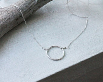 Sterling Silver medium Karma Circle Necklace - custom made to order