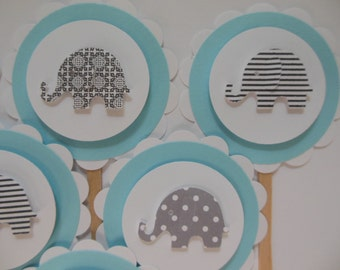 Elephant Cupcake Toppers - Aqua and White with Gray Print Elephants - Gender Neutral - Baby Shower Decorations - Birthday Party Decorations
