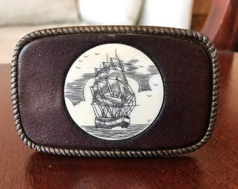 Nautical Leather Belt Buckle // Embossed Ship Embedded in Leather