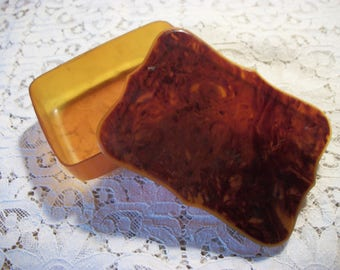 Ca. 1940s FAUX TORTOISE SHELL Lidded Celluloid Soap Box ~ Keeper ~ Saver ~ Trinket Box