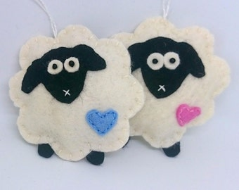Sheep ornaments - set of 2 - blue and pink heart - decor lamb home decoration handmade nursery Easter Baby shower Holiday gift idea
