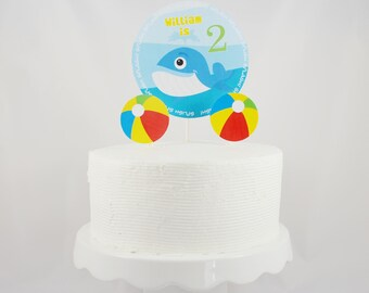 Personalized Whale Cake Topper / Printable Cake Topper / Centerpiece / Party Decorations / Beach Ball / Beach Party / Pool Party / Nautical