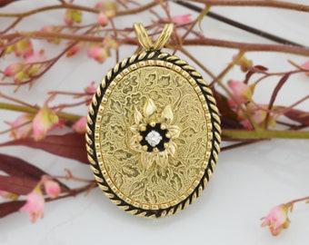 10k Yellow Gold Vintage Flower/Floral Mofit Diamond Locket Pendant