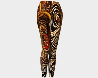 MAKOA  Leggings-Abstract-Art-Drawing-African Print-Black-Brown-Orange-Tribal-Clothes Wearable Art- Women- Pants -Clothing-XS-S-M-L-XL