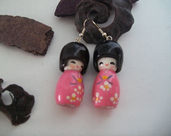 Pink geisha earrings