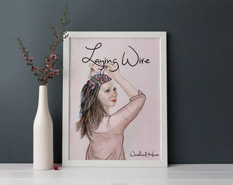 portrait, art print, Laying Wire