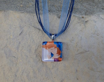 Disney Love Collection Beauty and The Beast Glass Pendant and Ribbon Necklace