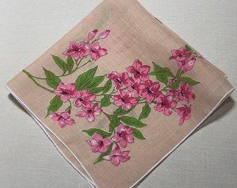 Vintage Tan Beige Handkerchief with Pink Flowers -  Hanky Hankie