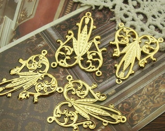 4 pcs - ( 23 x 28mm) Golden Plated Stamping Filigree Charms- Nickel Free