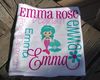Personalized Mermaid Baby Blanket - Mermaid Receiving Blanket - Baby Name Blanket with Mermaid - Newborn Swaddling Blanket - Baby Photo Prop