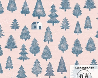 Stipple Forest Fabric By The Yard - Blue and Pink Woodland Pointillism Pine Tree Print in Yard & Fat Quarter