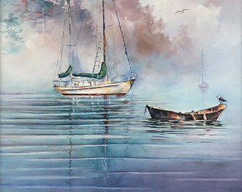 """Sailboat Art. Watercolor Sailboats. """"In the Mist"""" by Michael David Sorensen. Blue Watercolor Water. Boats. Water in Watercolor. Purple."""
