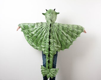 Green Dragon Costume, Party Fairy Tale Dragon Costume, Green and Black Dragon Skin, Halloween Costume with Wings, Dinosaur