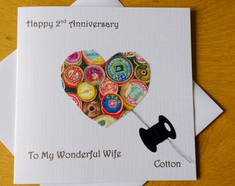 2nd wedding anniversary card cotton second anniversary gift - 2nd anniversary - Husband - Wife