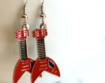Red and Black Guitar Enamel Charm Earrings perfect for anyone with a rock star attitude - Gifts for teens, musician gift